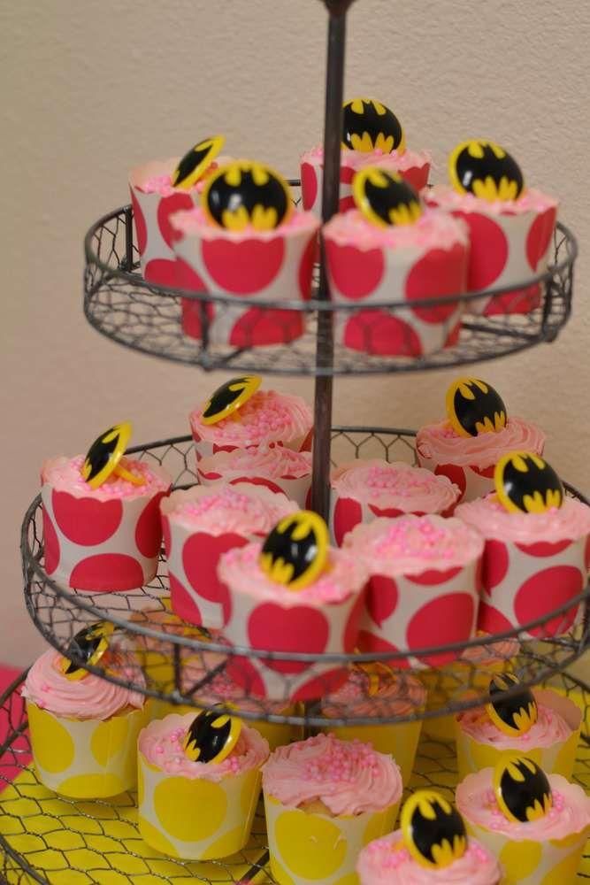 Super Heroes Batman Batgirl Hot Pink Yellow Black Birthday Party Ideas