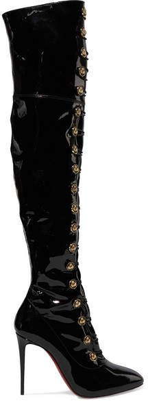 bcdf8ce45ad Christian Louboutin Frenchissima Alta 100 Patent-leather Over-the-knee Boots  - Black