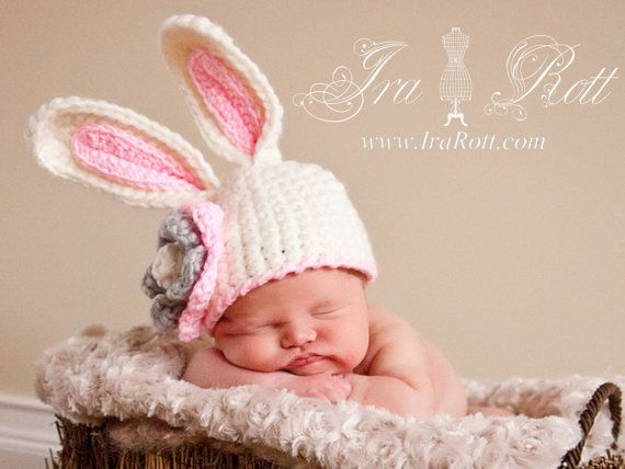 Bunny Rabbit Hat, Baby Photo Prop for Newborns to 3 years - For Miss ...