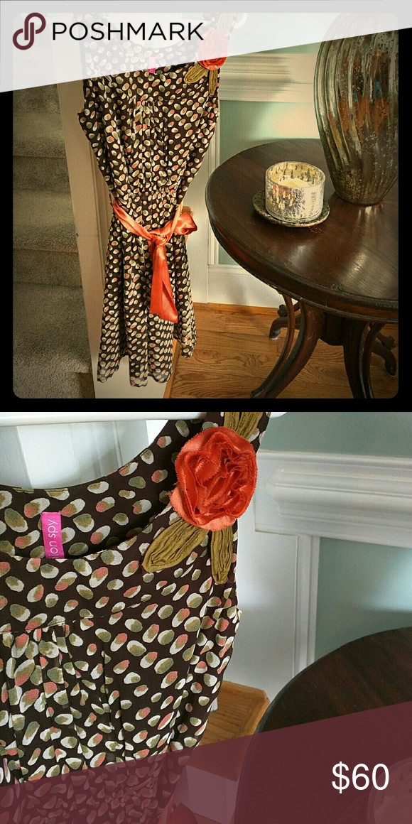 Boutique Fashion Spy flirty dress NWOT Brown with colored dots with orange silk waist tie and embroidered flower. Bought for Italy trip but never worn. Fashion Spy  Dresses Midi