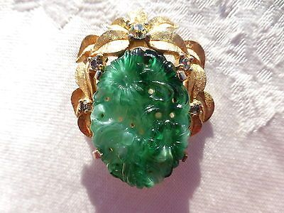 GORGEOUS-Vintage-Rhinestone-Peking-Jade-GLASS-BROOCH-by-JOMAZ-AMAZING-ON