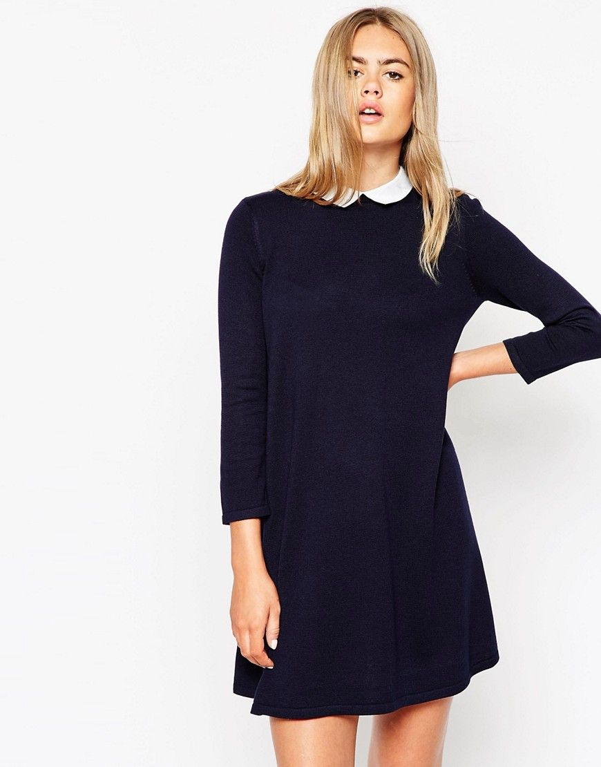 9fcc76b6f61 Image 1 of ASOS Knitted Swing Dress With Cute Collar