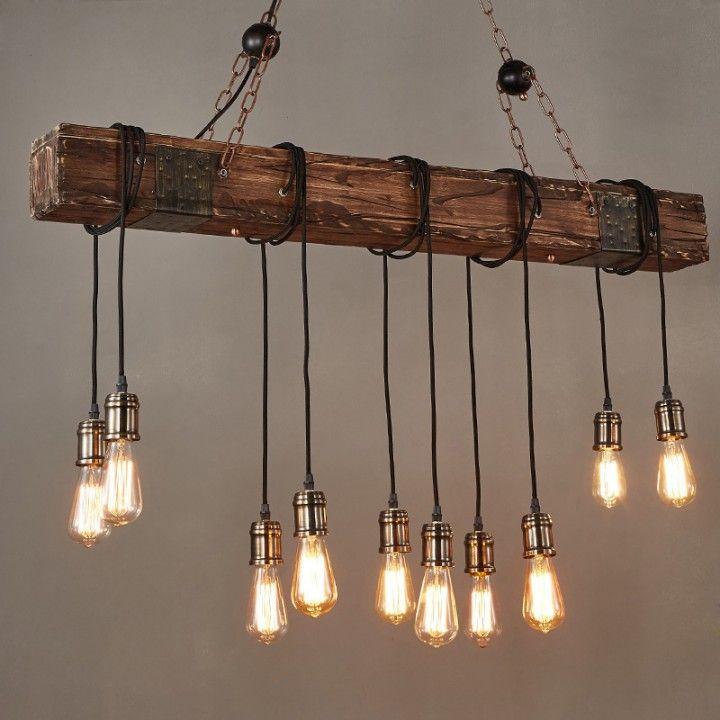 Photo of Farmhouse Style Dark Distressed Wood Beam Large Linear Island Pendant Light 10 Edison Bulbs