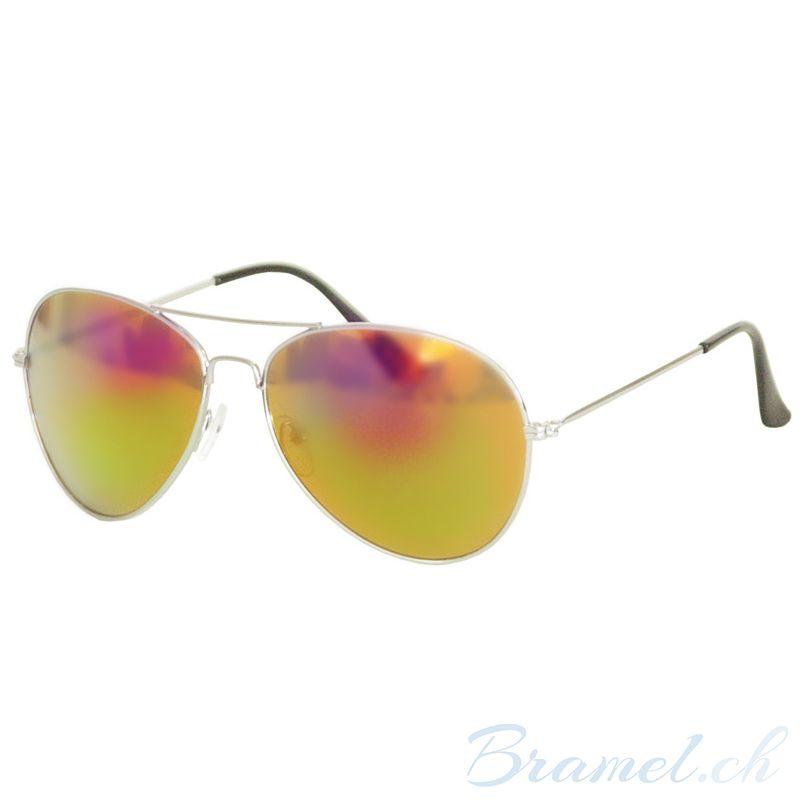 Pornobrille Pilotenbrille Sonnenbrille silber//grün Aviator Stil «