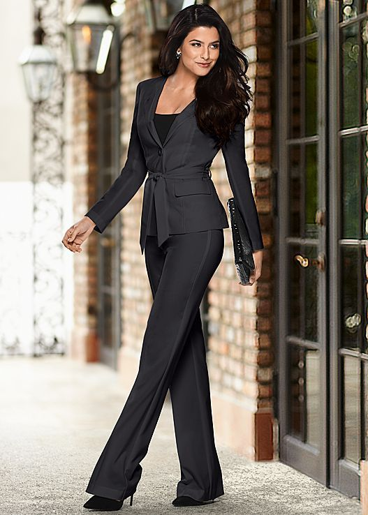 Dress Skirt Suit Set BELTED WOMENS BUSINESS SUIT Navy Blue Special Occasions