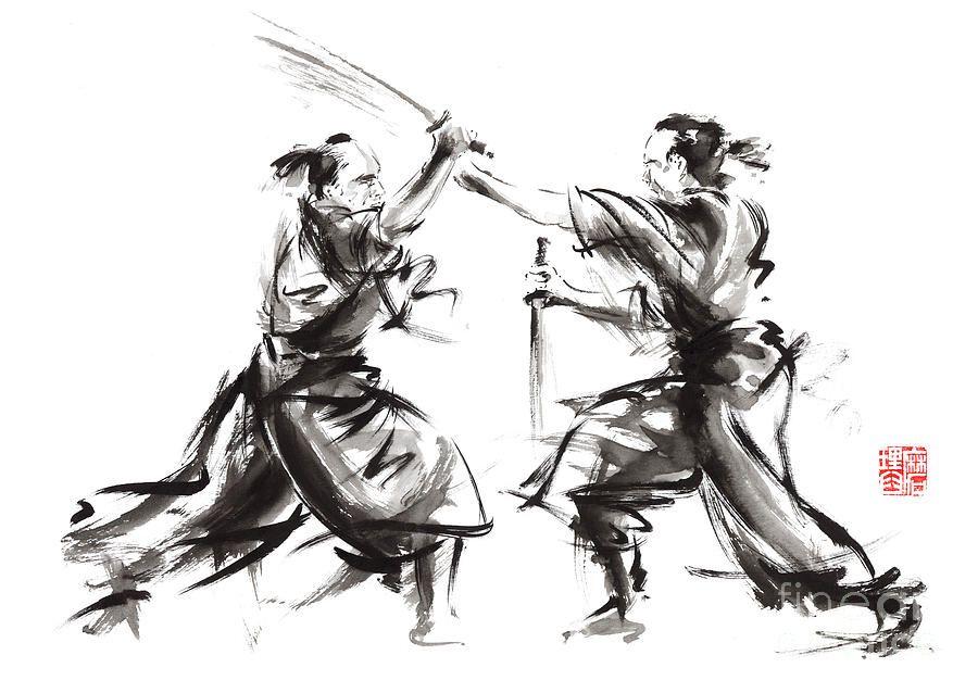 Samurai Sword Bushido Katana Martial Arts Budo Sumi e Original Ink Painting Artwork Judo