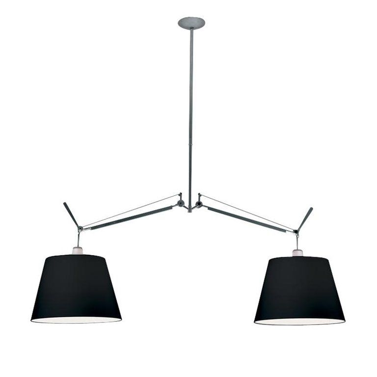 Artemide Tolomeo Black Double Pendant Lamp Products In 2019 Pendant Lamp Fabric Shades Chandelier Lighting
