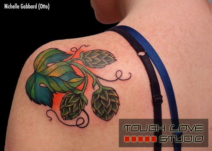 Beer hops tattoo nichelle gabbard tough love studio for Ink craft tattoo