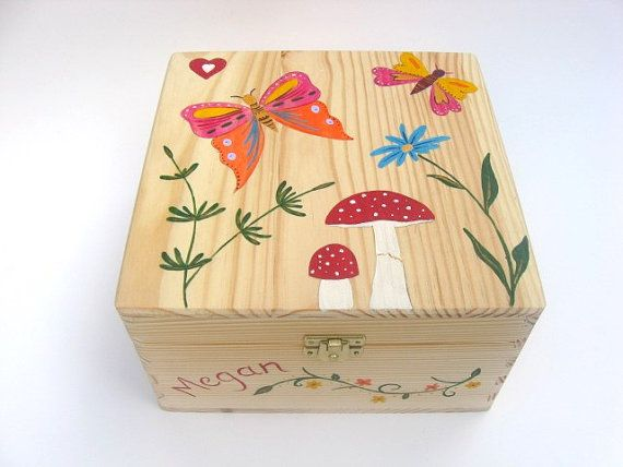 Childrens Personalised Wooden Memory Box Childrens Keepsake Box With Butterfies Flowers Wooden Keepsake Box Personalized Keepsake Box Personalised Wooden Box