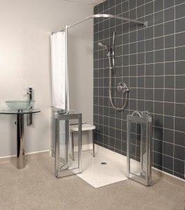 ADA walk in shower with glass door walk in shower