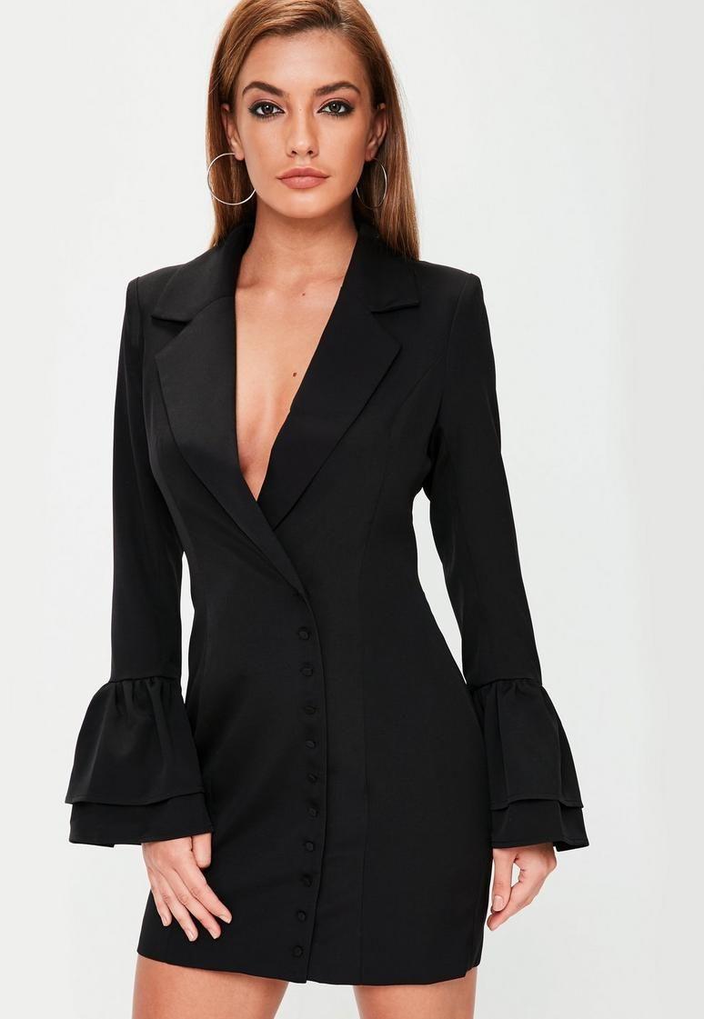 Black Frill Sleeve Blazer Dress Blazer Dress Women Dress Online Blazer [ 1121 x 774 Pixel ]