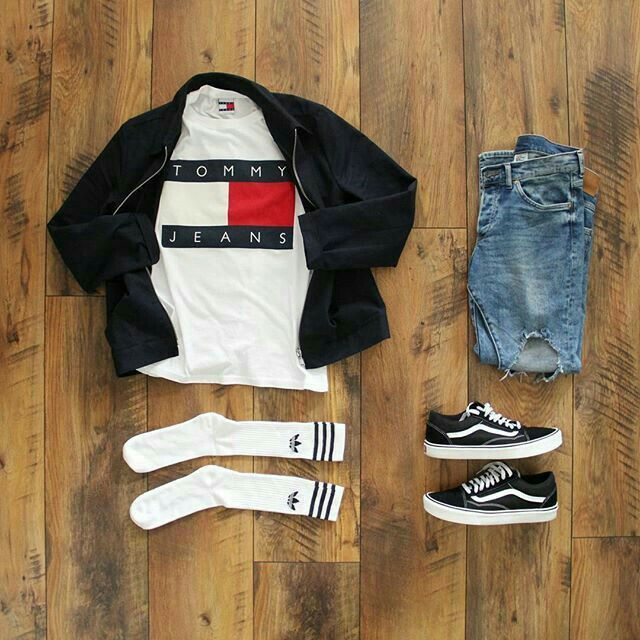 Tommy shirt, bomber jacket, adidas socks, ripped jeans and vans <div class=