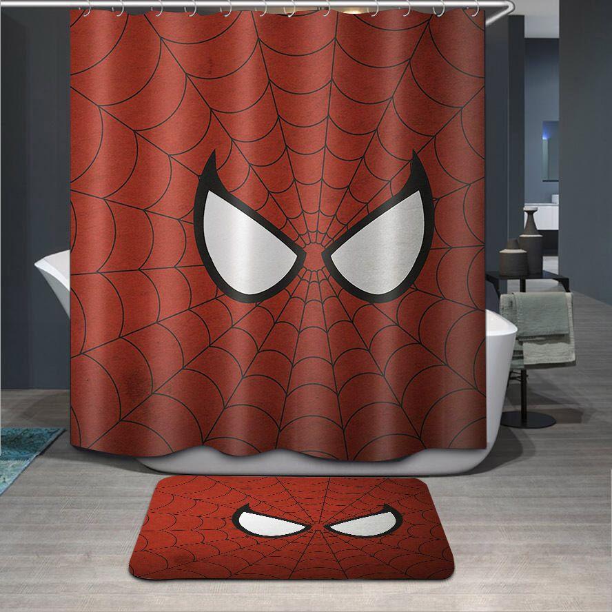 Spiderman Bathroom Decor Shower Curtain 100 Polyester 12 Hooks