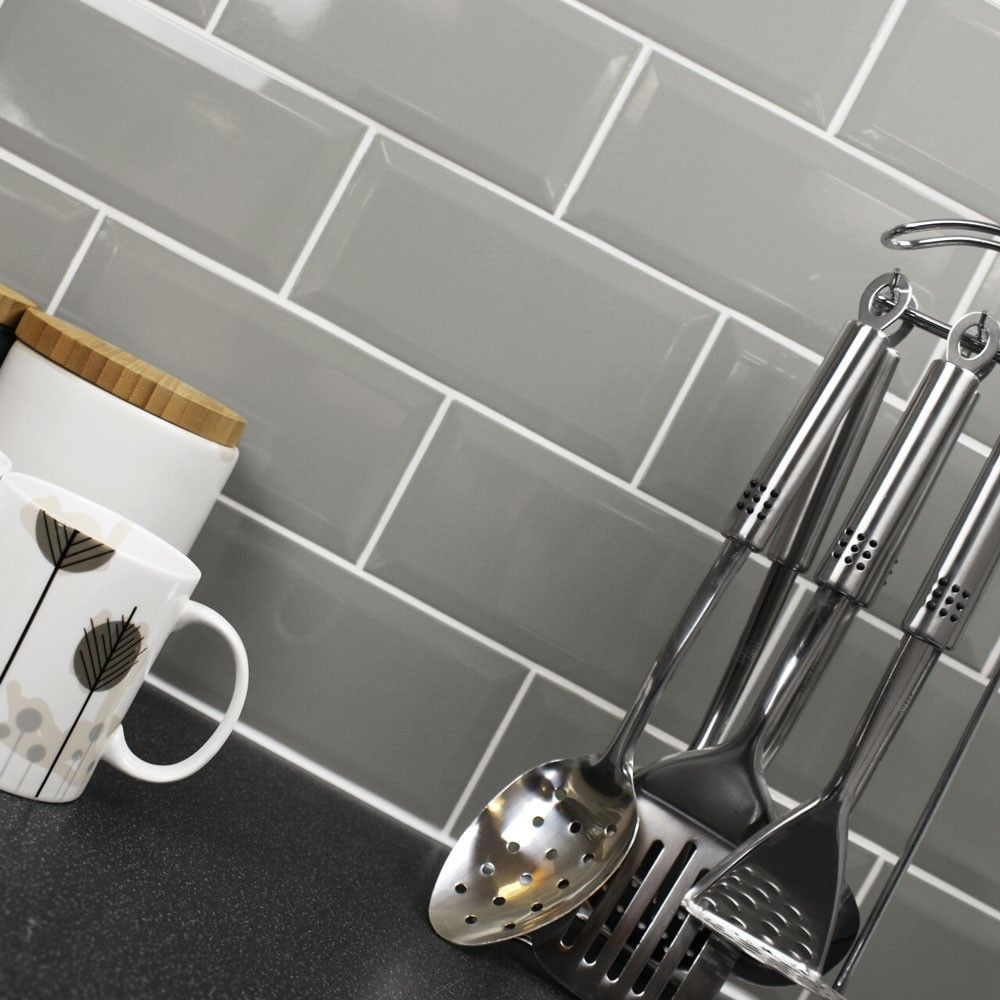Bevelled Brick Grey Gloss Wall Tiles Retro Metro Tiles 200x100x5mm Tiles Brick Tiles Kitchen Metro Tiles Kitchen Trendy Kitchen Tile
