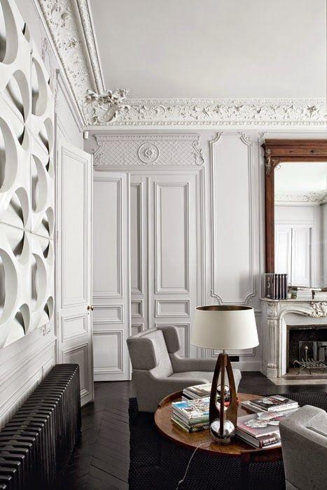 bourgeois #moulures Un intérieur parisien qui mixe de façon moderne ...
