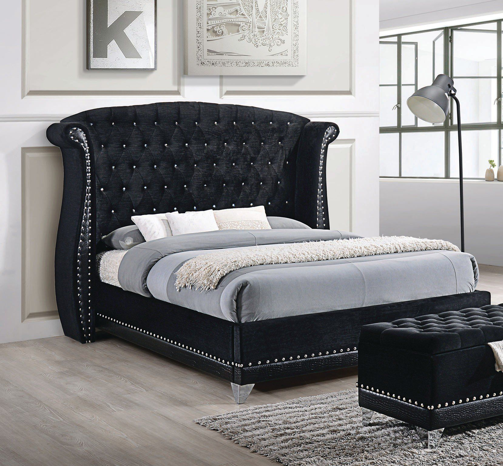 Barzini Collection Black Velvet Eastern King Platform Bed