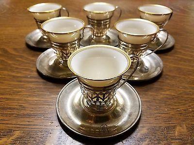#Antiques #Gifts 6 Antique Gorham Sterling Silver Demitasse Tea Cups & Saucers w Porcelain Lennox #Collectors