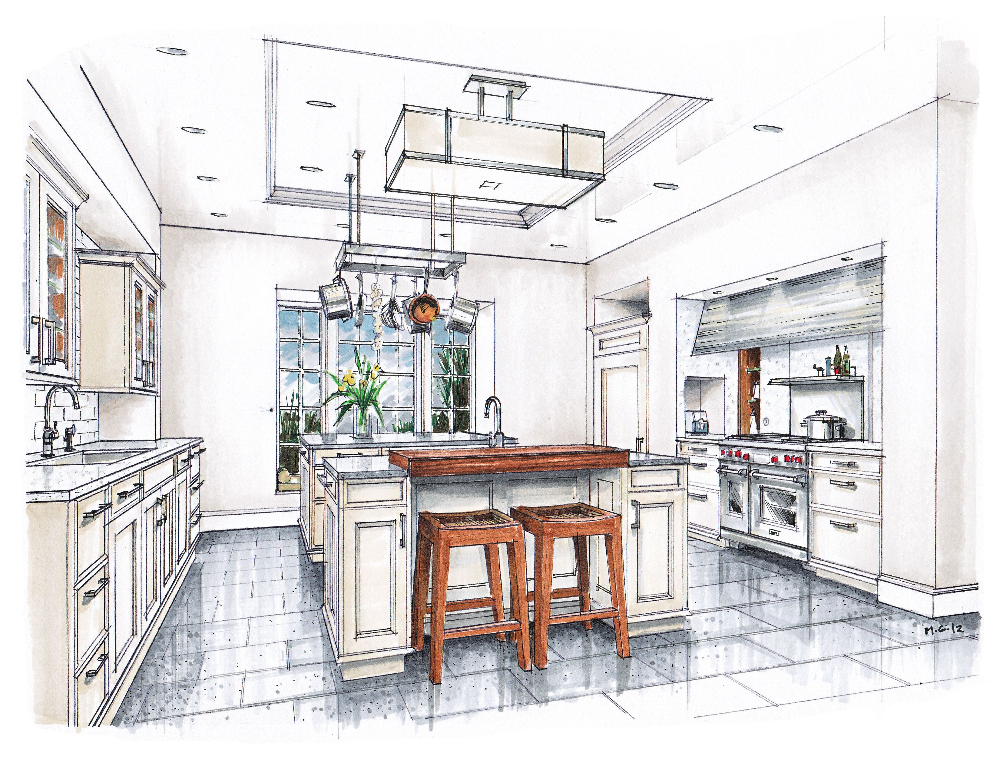 new beaux arts kitchen rendering sketches interior
