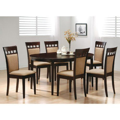 7Pc Contemporary Cappuccino Finish Solid Wood Dining Table Chairs Unique Oval Dining Room Table And Chairs Inspiration