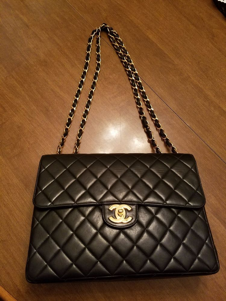 b8e9fbd2d6d2 Chanel Black Lambskin Vintage Jumbo Single Flap Bag #CHANEL #ShoulderBag
