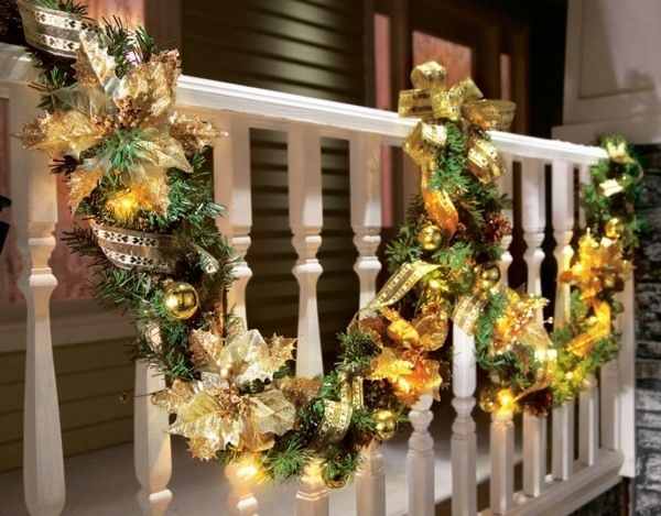 Christmas outdoor decorations porch decor garland and lights