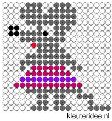 Kralenplank muis, kleuteridee.nl / Kralenplankje kleuters / Beads patterns preschool