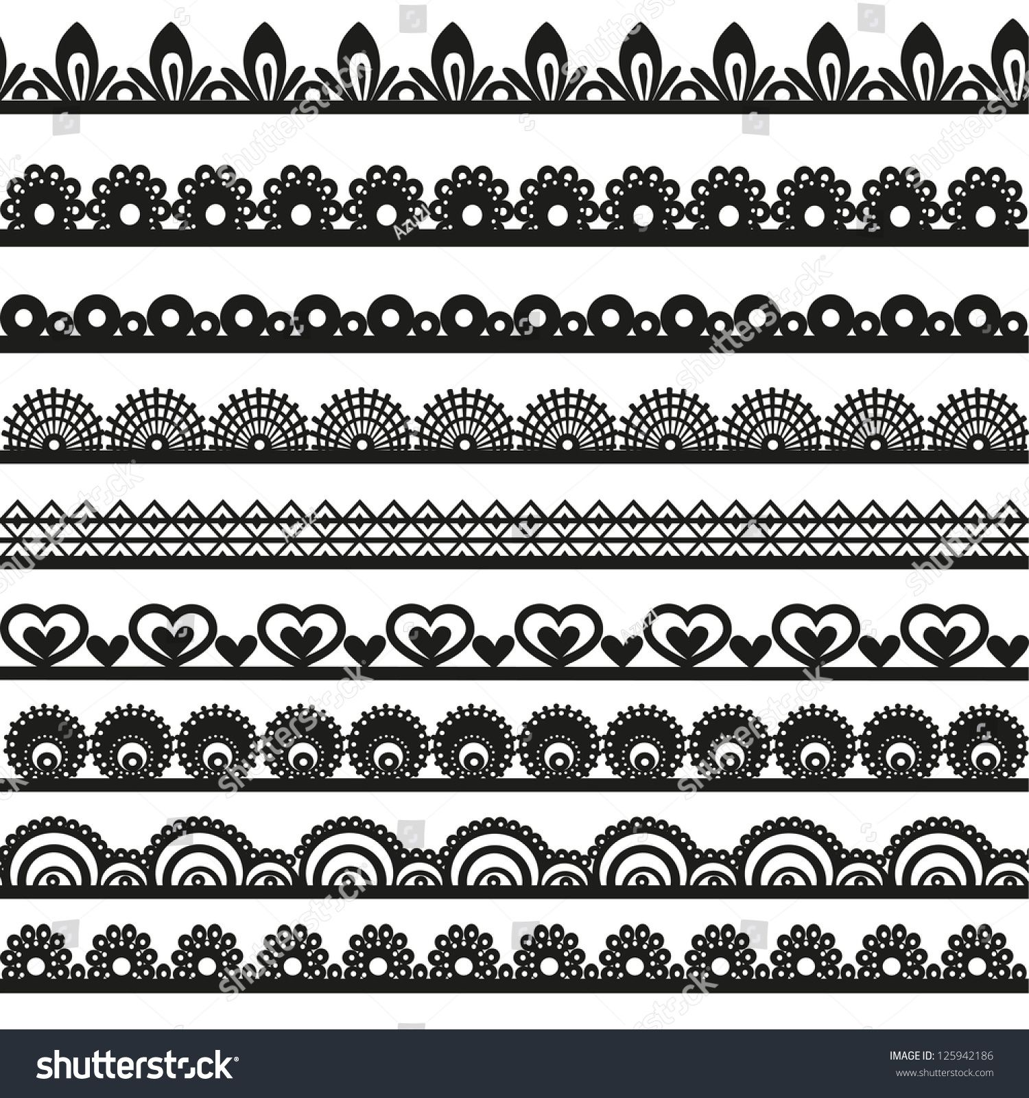 Large Set Of Openwork Lace Borders Black Silhouette For Your Design Spitzen Zeichnung Zentangle Muster Mandala Malvorlagen