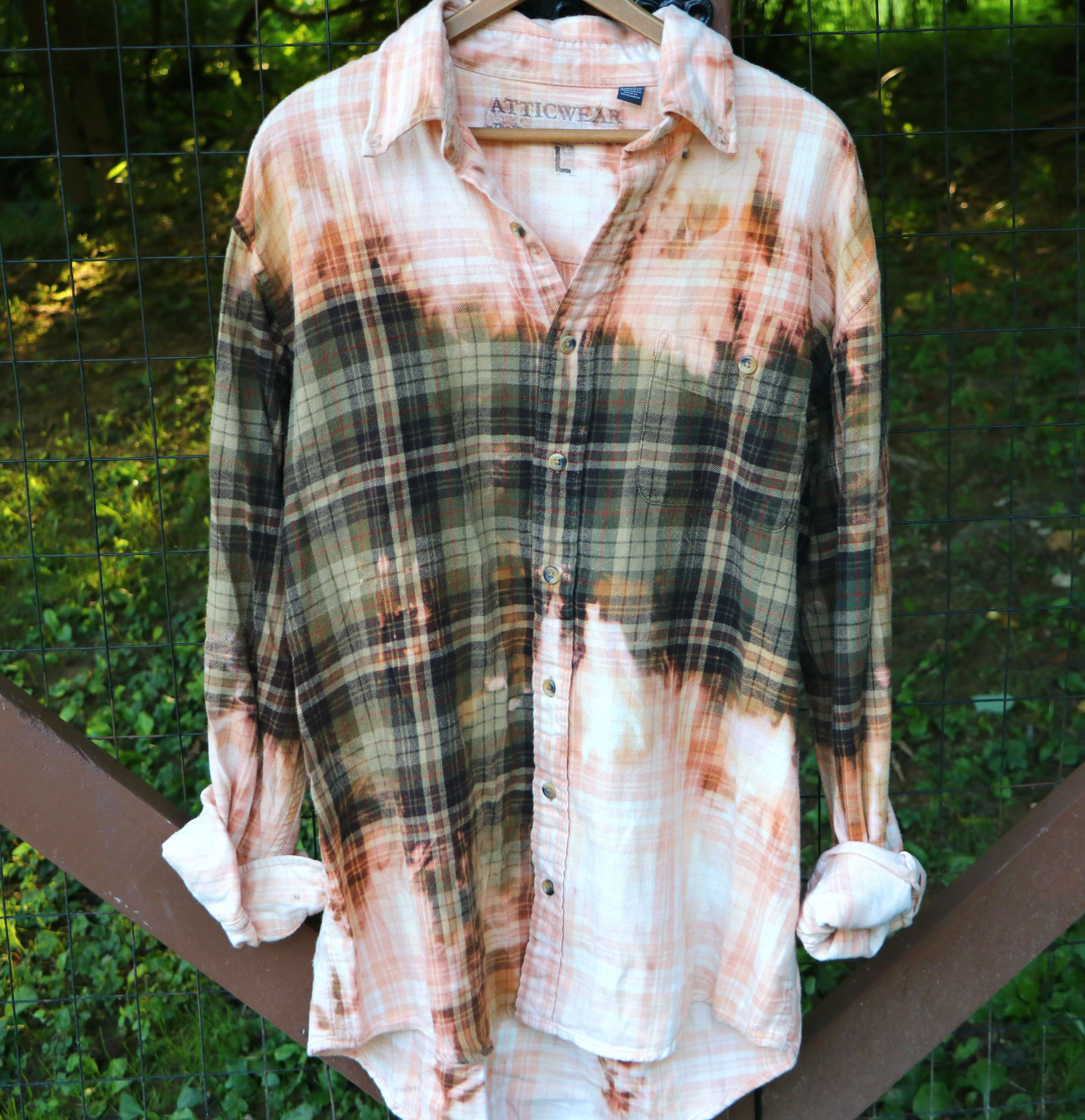 Photo of Repurposed vintage shirt, flannel shirt, plaid grunge shirt, streetwear coverup , Size MENS LARGE