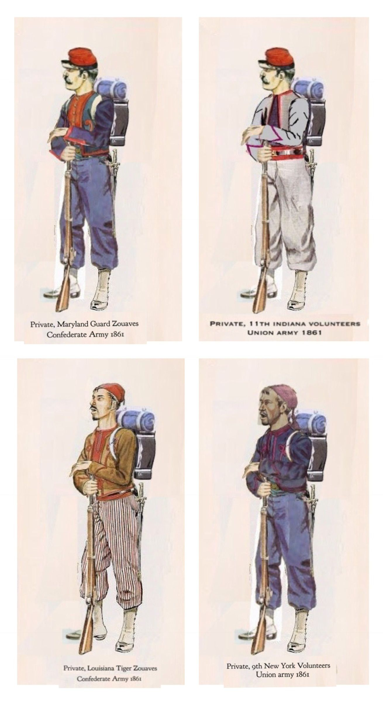 The Blue And The Grey Zouaves Of The American Civil War Sometimes Wore Uniforms That Were