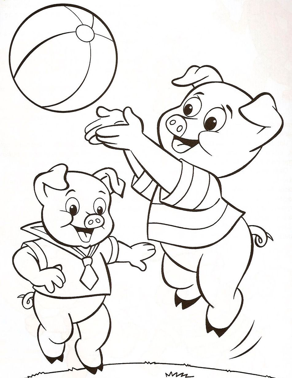 3 Porquinhos Jogando A Desenhos Para Colorir Tres Porquinhos