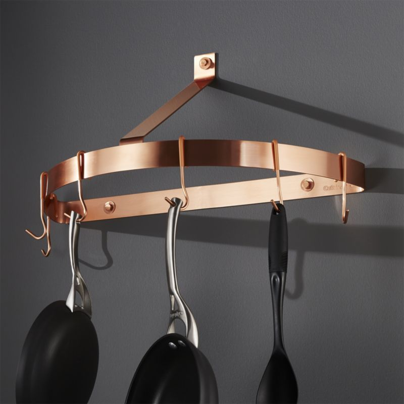 Add A Beautiful Accent To The Kitchen With His Polished Copper Wall Mount Pot Rack Constructed As A Sleek Half Circle Round To Pot Rack Copper Wall Wall Mount
