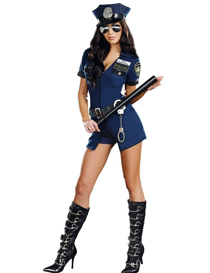 Cool MOONIGHT 3 Pcs New Ladies Police Fancy Halloween Costume Sexy Outfit Woman Cosplay Sexy Police Costumes for Women