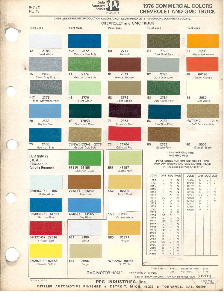 1976 Medium Lime Paint Code Google Search Paint Color Chart