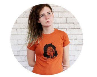 Burrowing Owl Rust Orange TShirt, Woodland Animal, Bird, Screen-printed Graphic Tee Shirt, Cotton Crewneck , Womens Shirt, Gift For Her