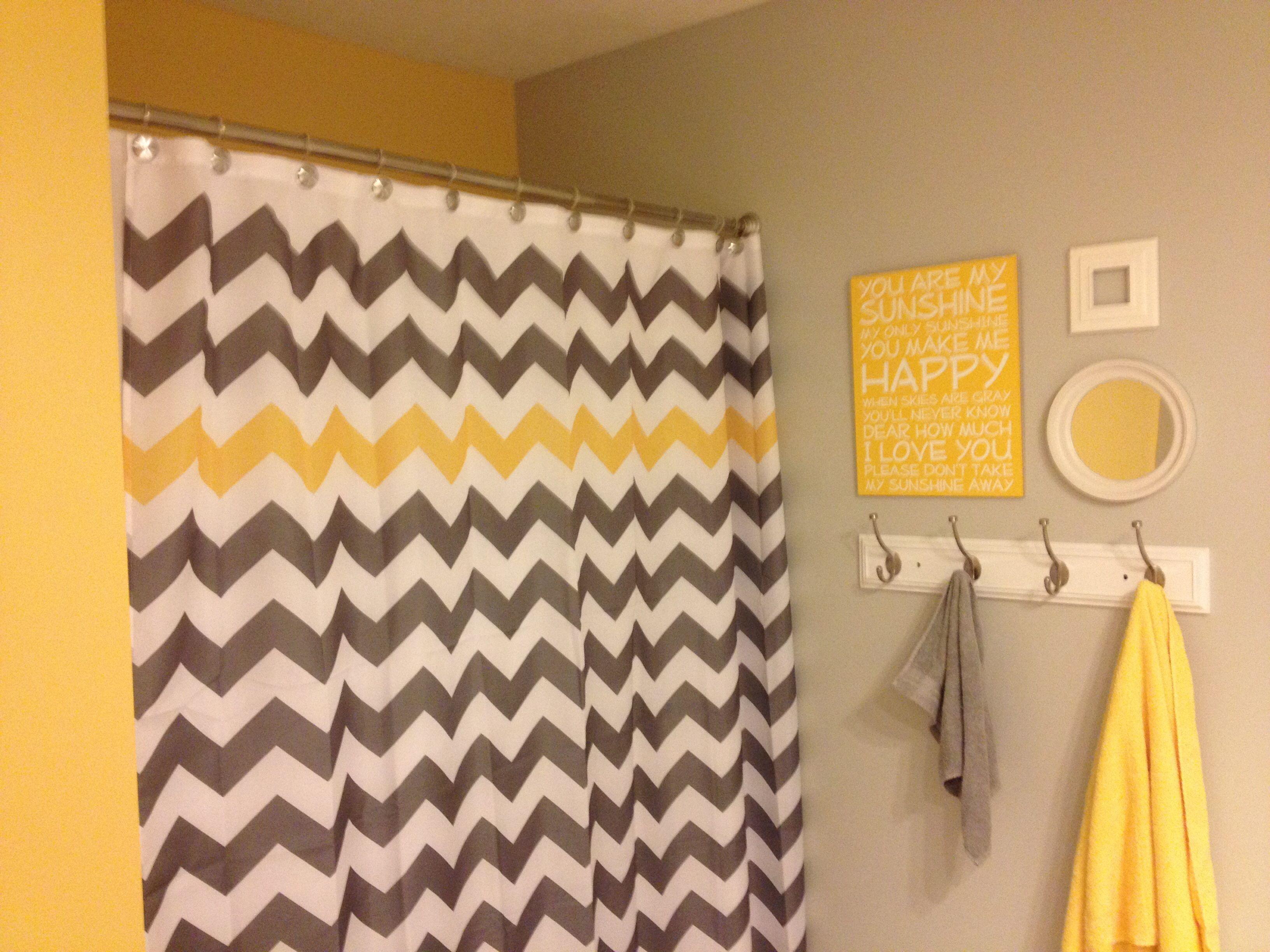 "Yellow and grey ""you are my sunshine"" chevron kids bathroom"