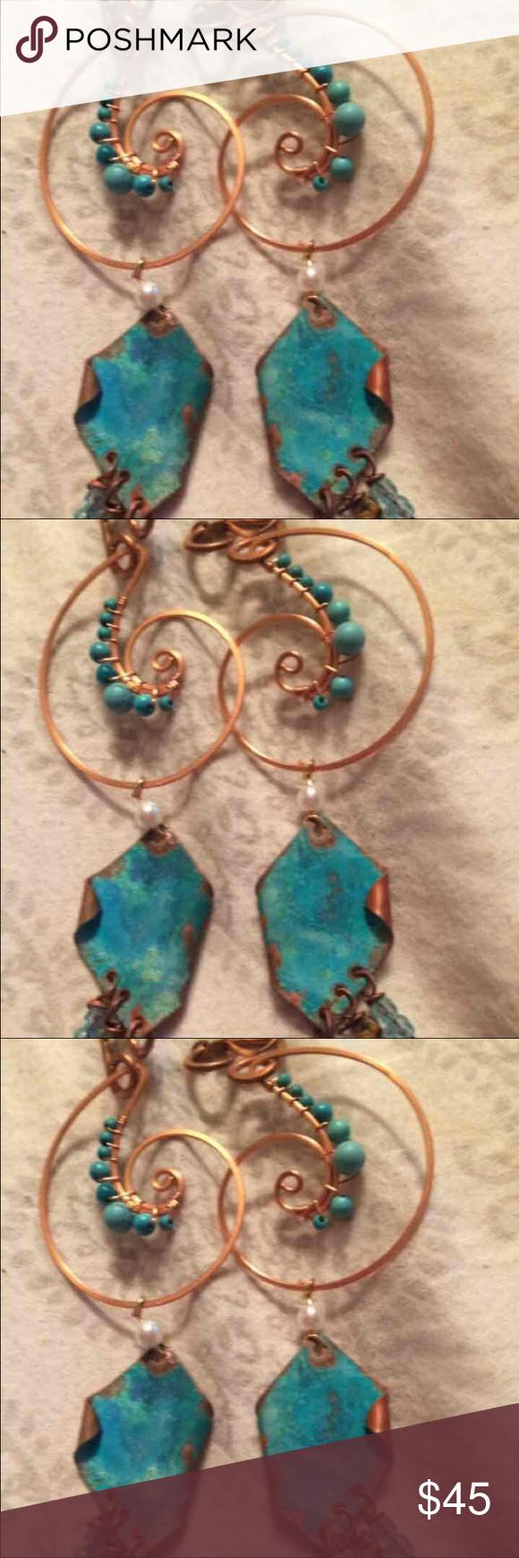 Handmade Gold/Turquoise Earrings Beautiful Handmade Gold/Copper/Turquoise Earrings Jewelry Earrings