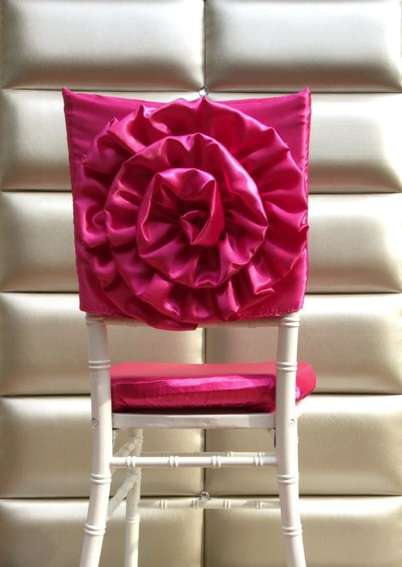 Chair Back Covers Wedding Canvas Butterfly Freya Rosa Large Flower Sateen Cover In Your Colors