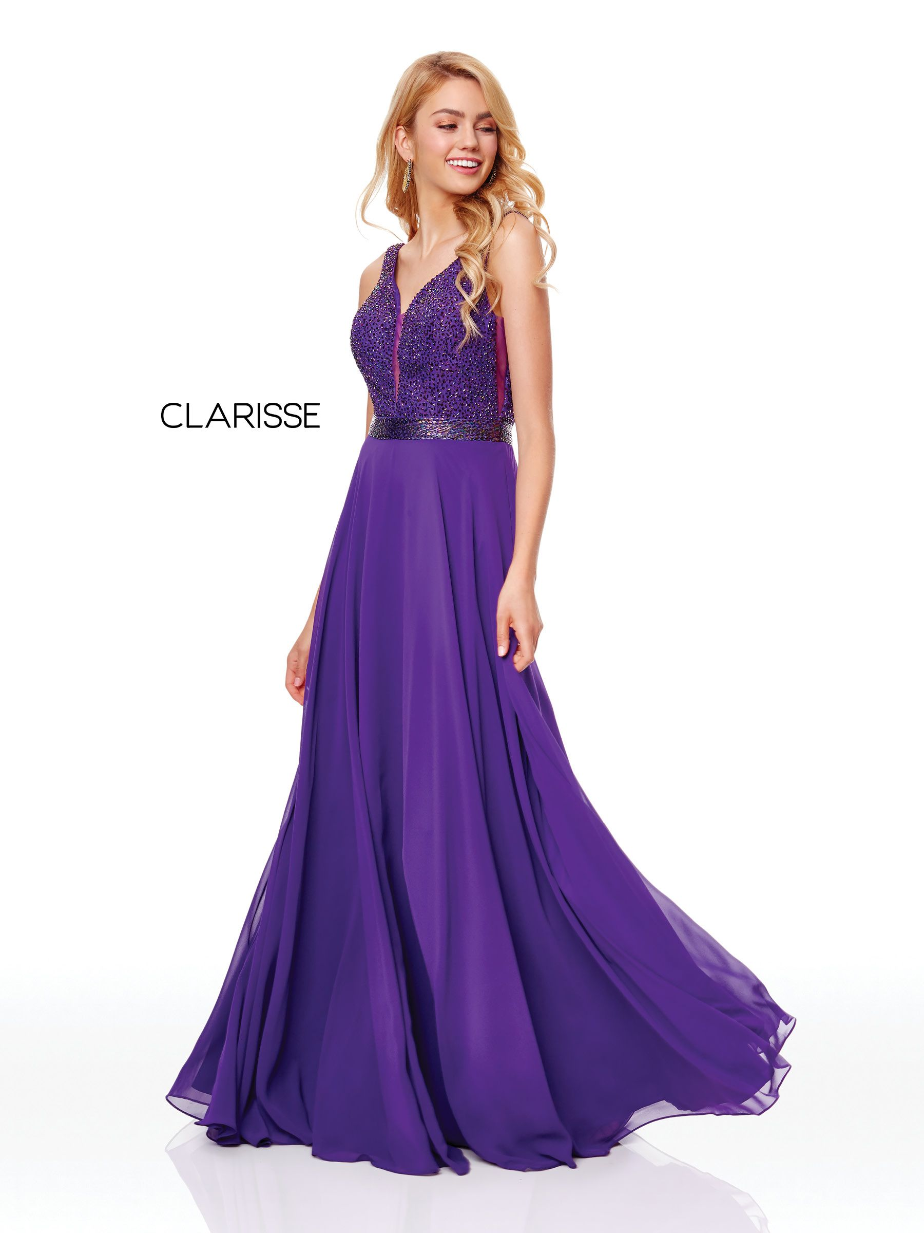 460d4de8bd9f 3779 - Amethyst chiffon prom dress with a beaded top and low cut back