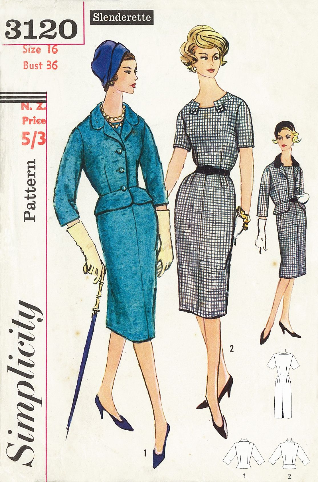 Simplicity 3120 (©1959). Dress and jacket. Vintage sewing pattern ...