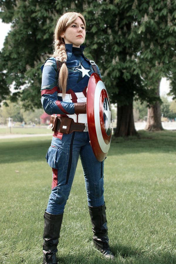Female captain america cosplay costume