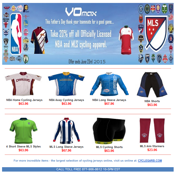 20% off All NBA and MLS Cycling Gear! Sale ends June 23rd 2015. See ... 80136ce9c