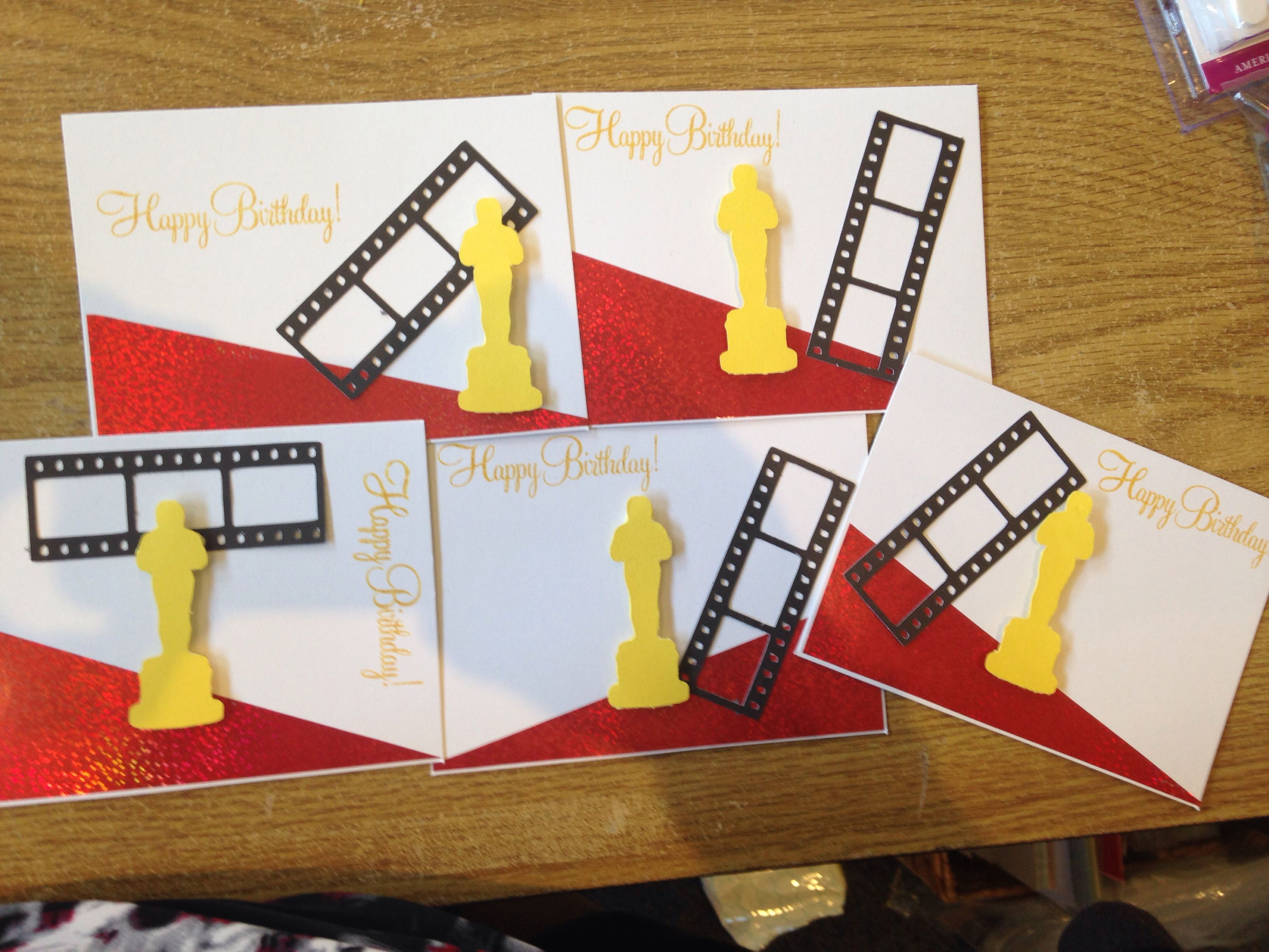 Award Winning Birthday Hollywood Classroom Birthday Cards Made With Cricut Movie Night Cartridge Classroom Movies Classroom Birthday Classroom Themes