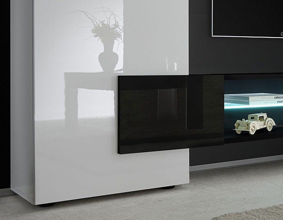Ensemble Meuble Tv Design Laqué Blanc Et Noir Trivia 3 Pinterest