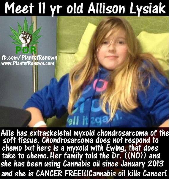 """""""Allie is 11 and using cannabis oil and NO chemo with the okay of her dr.. She did have 4 spine surgery's and 37 rounds of proton radiation.. She has extraskeletal myxoid chondrosarcoma of the soft tissue.. Chondrosarcoma does not respond to chemo but hers is a myxoid with Ewing, that does take chemo.. We told the DR no and she has been using the oil since Jan of this year and is CANCER FREE""""."""