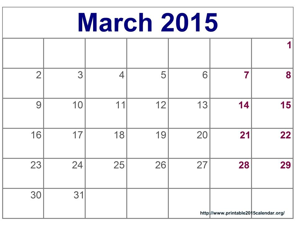 March 2015 Calendar With Holidays | March 2015 Calendar Printable