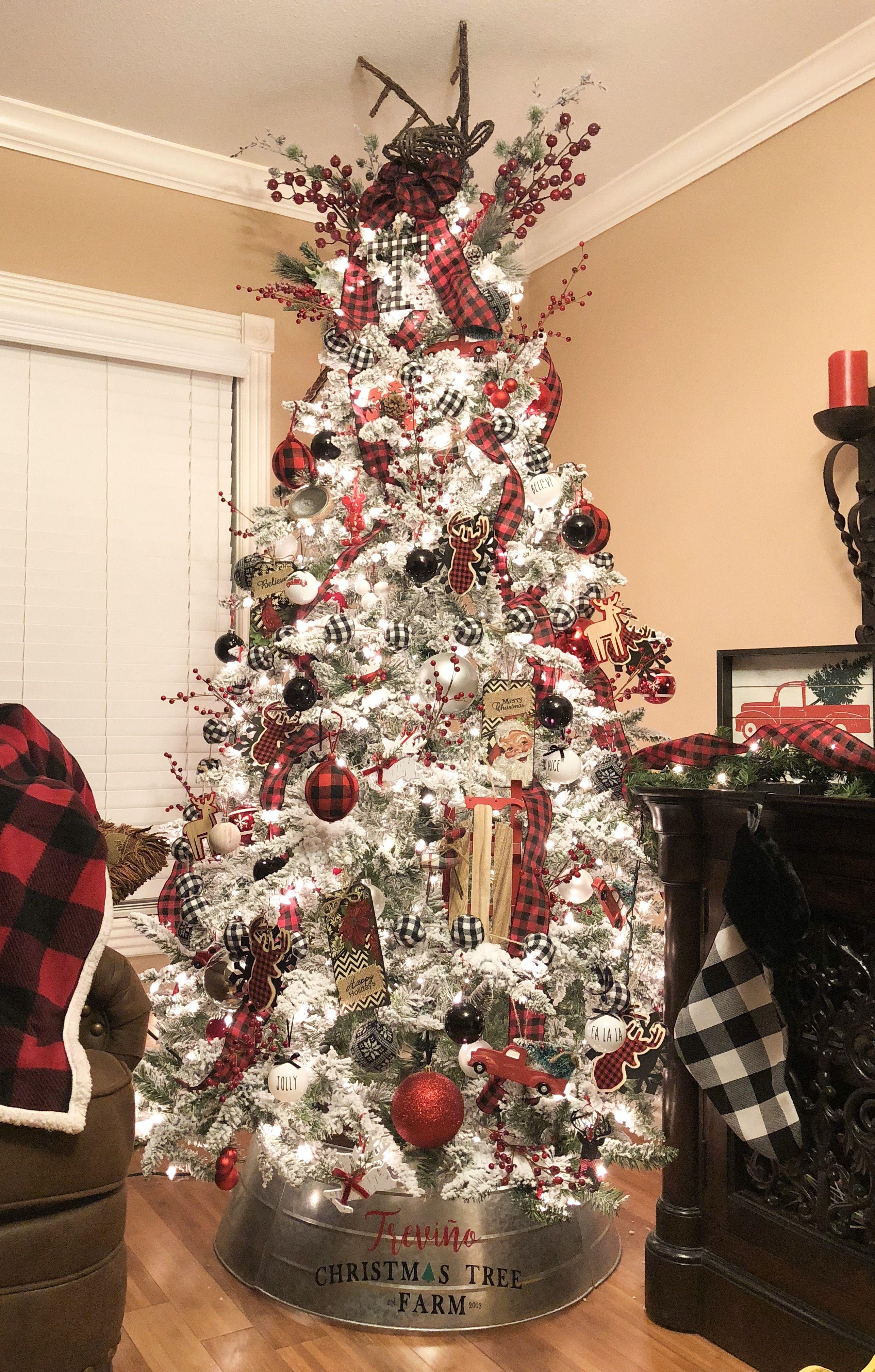 Buffalo Check Red Black White Flocked Christmas Tree 2018 White Flocked Christmas Tree Flocked Christmas Trees Christmas Tree