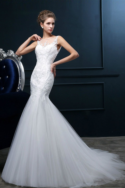 Few moda vneck long tail mermaid gown in white wedding dress
