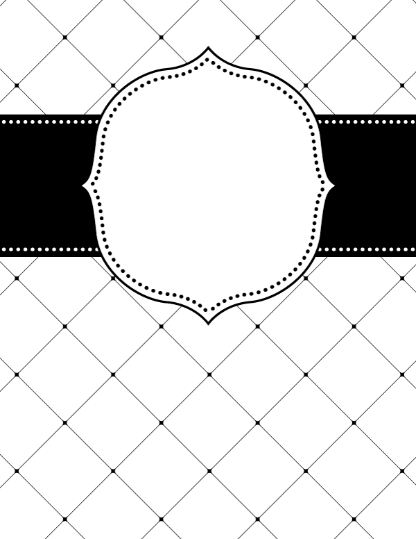 Free printable black and white lattice binder cover template ...