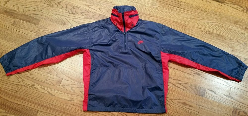 91a648d3d1 Vintage Nike Half-Zip Windbreaker hooded nylon Jacket Men Medium blue  silver tag  Nike  Windbreaker