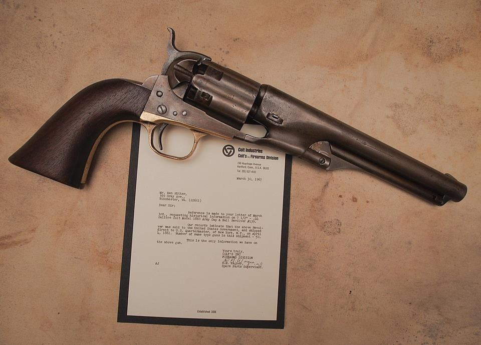 Early 1860 Army Colt Fluted Cylinder 7 5 Inch Barrel